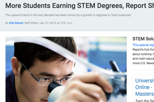 More Students Earning STEM Degrees, Report Shows